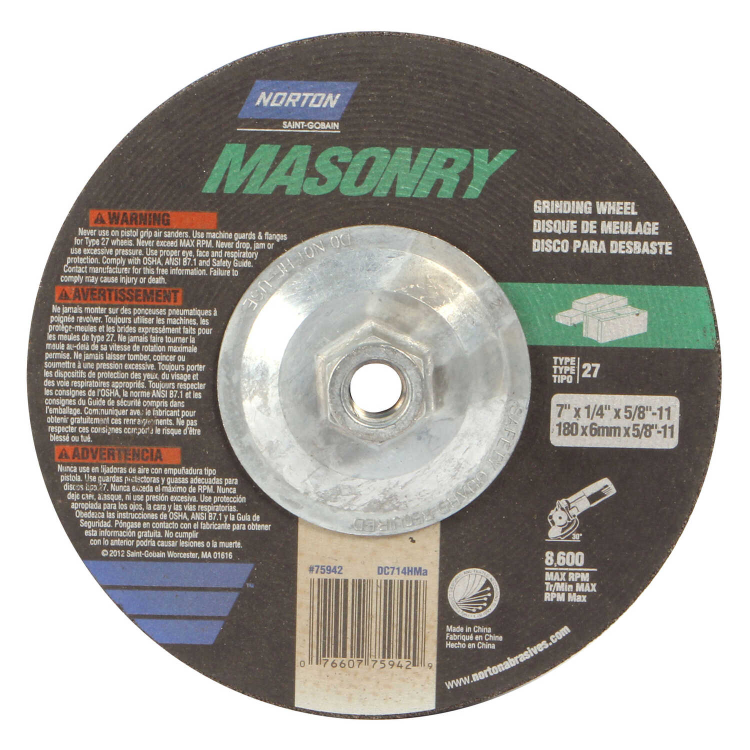 Norton  7 in. Dia. x 1/4 in. thick  x 5/8 in.   Silicon Carbide  Grinding Wheel  8600 rpm 1 pc.