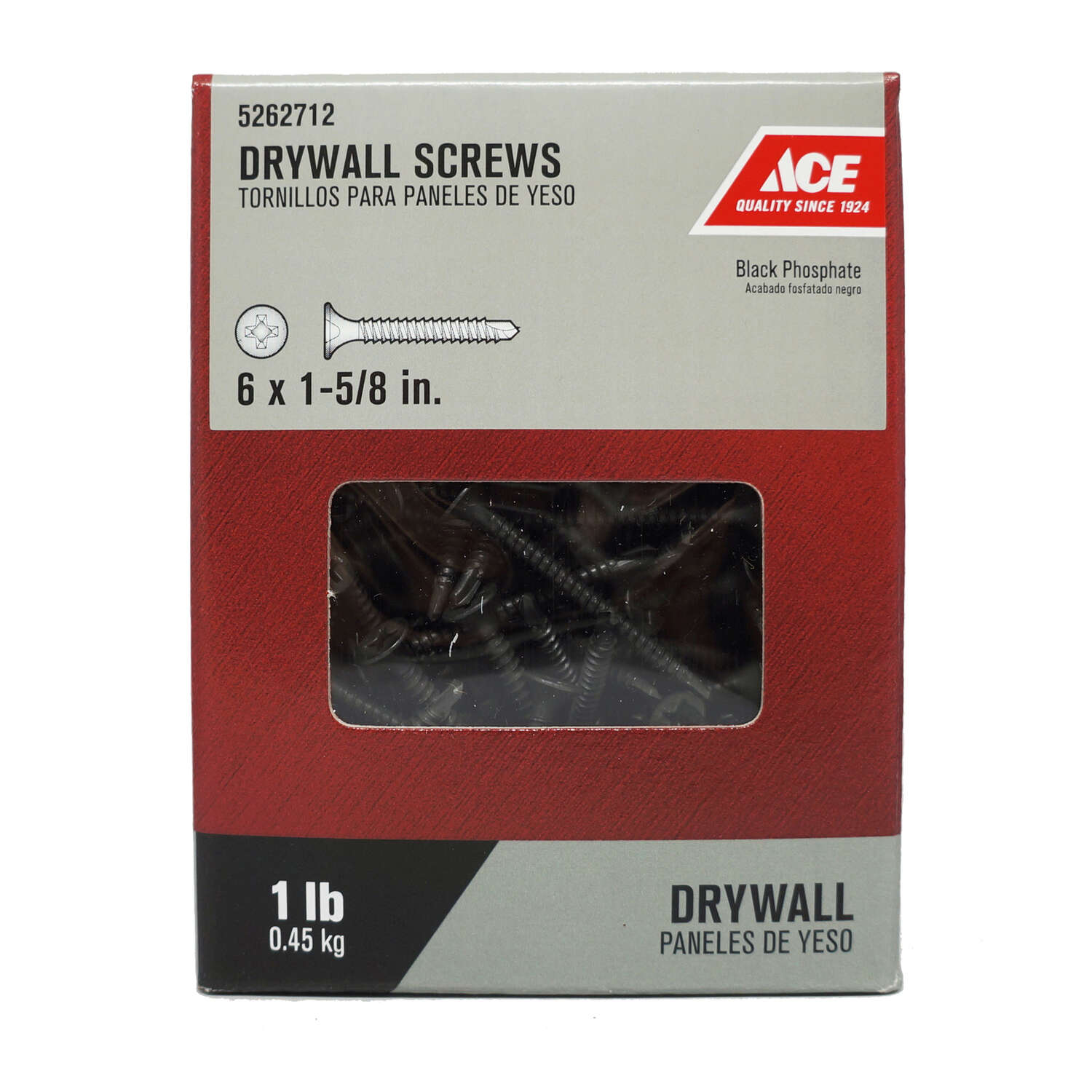 Ace No. 6 x 1-5/8 in. L Phillips Drywall Screws 1 lb. 202 pk