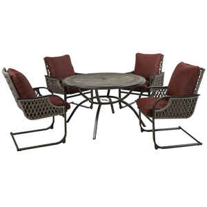 Living Accents  Redmond  5 pc. Brown  Steel  Patio Set  Burgundy
