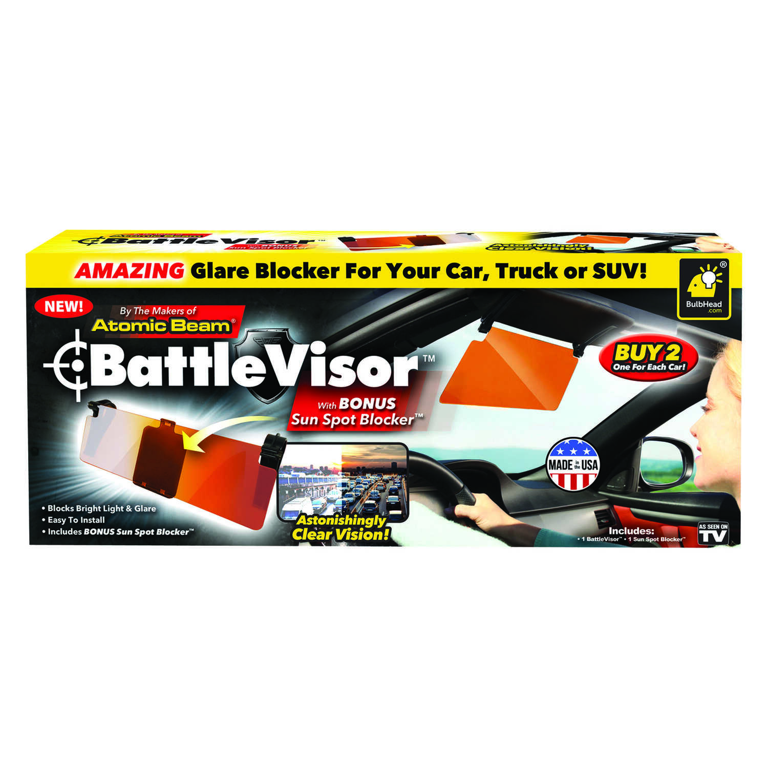 BattleVisor  As Seen On TV  11 in. L x 5 in. W Copper  Glare Blocker