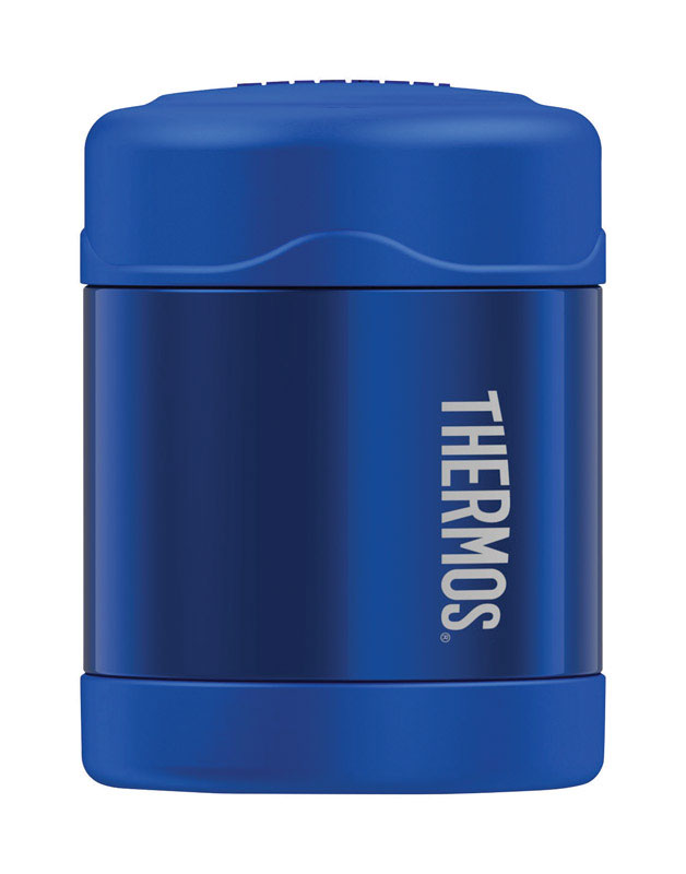 Thermos Funtainer 10 oz. Vacuum Insulated Food Jar 1 pk Blue Perfect for packing in a school lunch, the compact and lightweight 10-ounce FUNtainer® food jar from Genuine Thermos® Brand is a great choice for keeping foods and snacks at their optimal temperature. Thermos® vacuum insulation technology and durable double wall stainless steel construction will keep food hot for up to 5 hours or cold for up to 7 hours. The wide mouth design makes it easy to fill, eat from and clean.