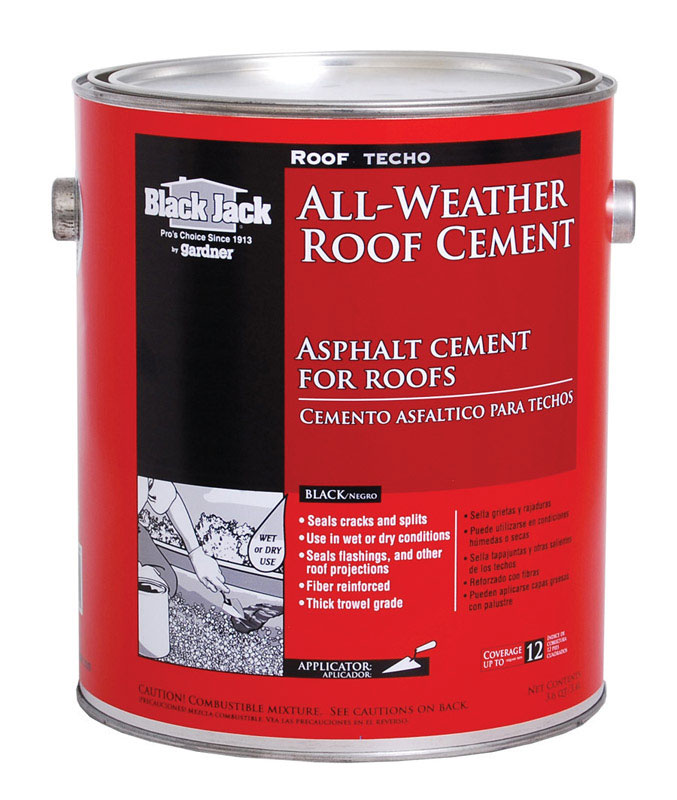 Black Jack  Roof Techo  Gloss  Black  Patching Cement  All-Weather Roof Cement  1 gal.