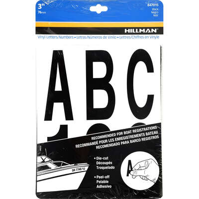 Hillman  3 in. Black  Vinyl  Self-Adhesive  Letter and Number Set  0-9, A-Z  100 pc.