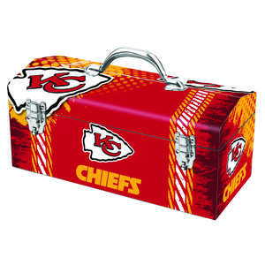 Sainty International  Kansas City Chiefs  16.25 in. Steel  NFL  Art Deco Tool Box  7.75 in. H x 7.1