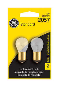 GE Miniature Lamps 2057BP For Turn Signal, Stop, Tail and Parking 12 volts 2 Carded