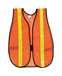 MCR Safety  Reflective Polyester  Safety Vest with Reflective Stripe  Orange  One Size Fits All