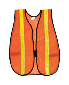 MCR Safety  Reflective Polyester  Safety Vest with Reflective Stripe  Orange  One Size Fits All  1 p