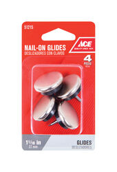 Ace  Silver  1-1/16 in. Nail-On  Nickel/Nylon  Chair Glide  4 pk
