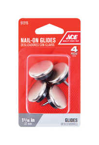 Ace  1-1/6 in. W 1.06 in. Nail On  Chair Glide  4  Nickel/Nylon