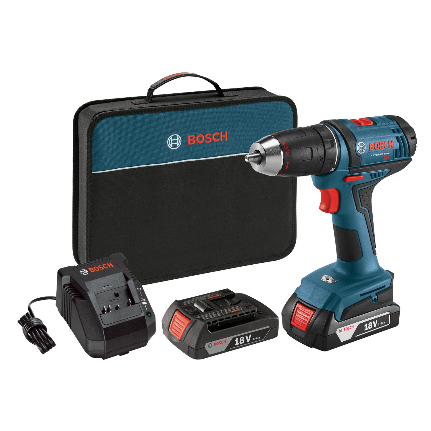 Bosch  18 volts 1/2 in. Cordless Compact Drill/Driver  Kit 1300 rpm 2