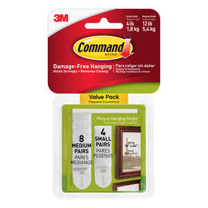 3M  Command  White  Picture Hanging Strips  Foam  12 pk 12 lb.