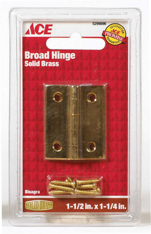 Ace  1-1/2 in. W x 1-1/4 in. L Polished Brass  Brass  Broad Hinge  2 pk