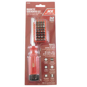 Ace  32 pc. Screwdriver Set  Steel  8 in.