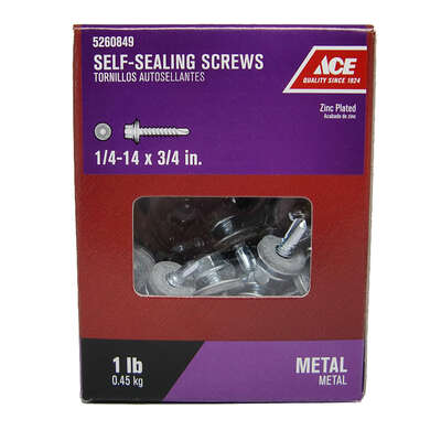 Ace  1/4-14 Sizes  x 3/4 in. L Hex Washer Head Zinc-Plated  Zinc  Self-Sealing Screws  1 lb.