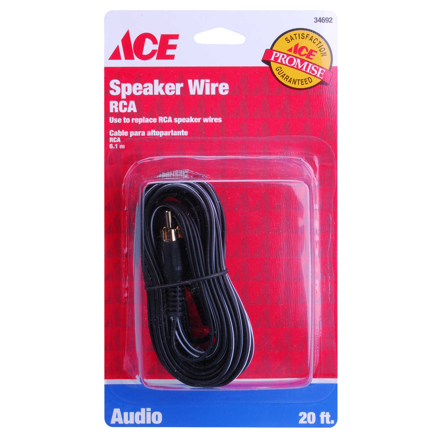 Ace  20 ft. L Speaker Cable  RCA
