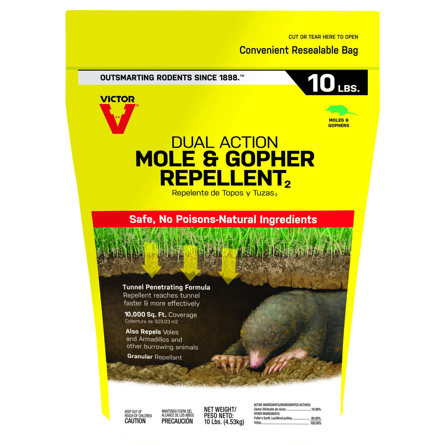 Victor Dual Action Animal Repellent Granules For Gophers and Moles 10 lb.