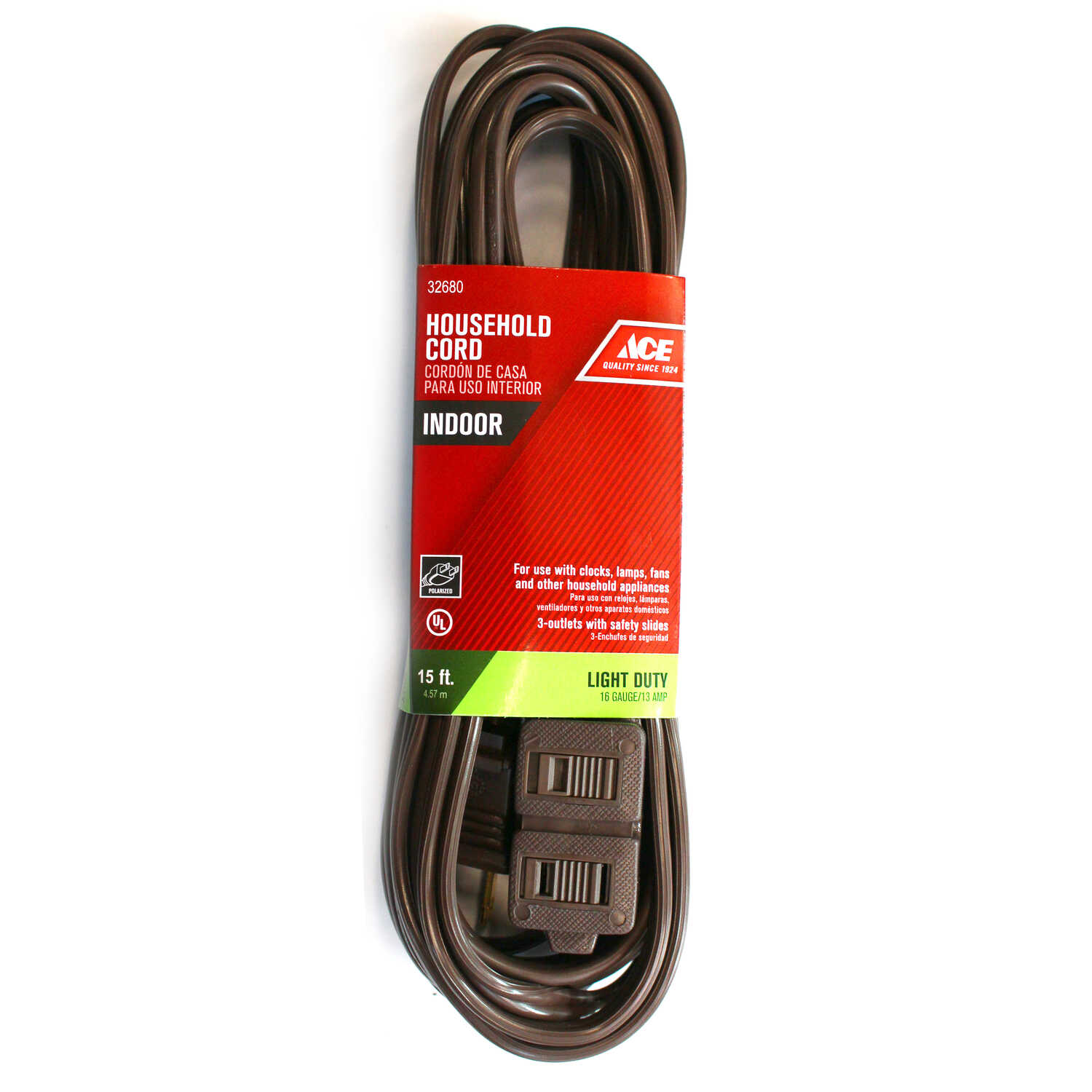 Ace  Indoor  15 ft. L Brown  Extension Cord  16/2 SPT-2