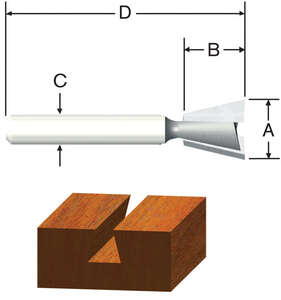 Vermont American  1/2 in. Dia. x 1/2 in.  x 1-3/4 in. L x 1/2 in. Dia. Dovetail  Router Bit  Carbide