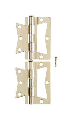 Ace 2.75 in. W x 3 in. L Bright Brass Brass Non-Mortise Hinge 2 pk
