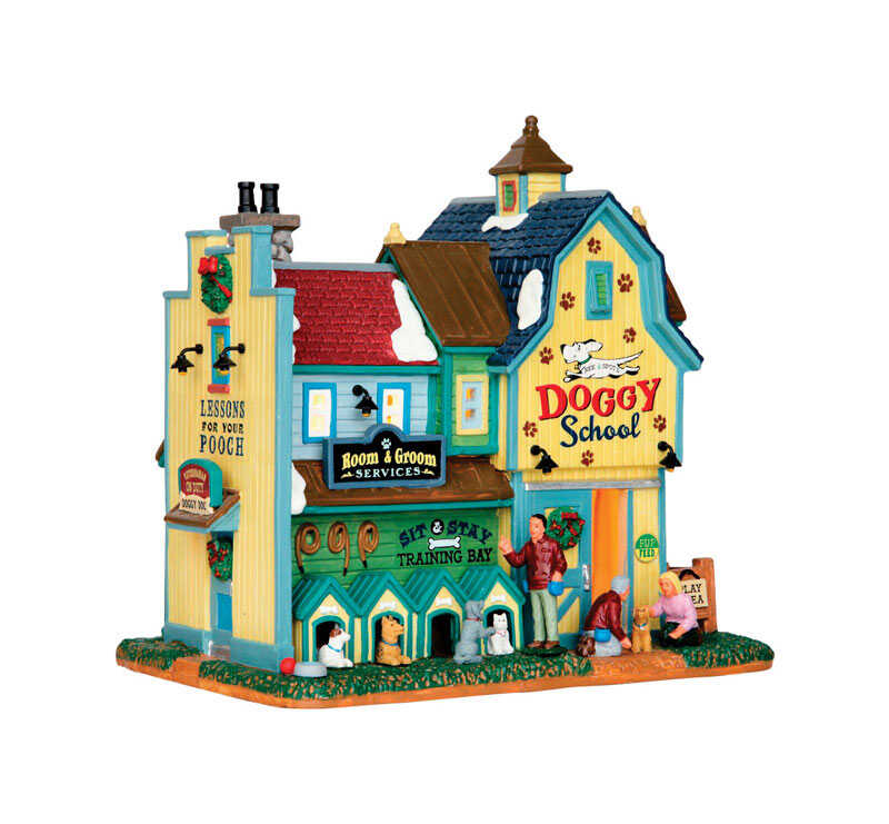 Lemax  Rex &Spot's Doggy School  Village Building  Multicolor  Porcelain  7.72 in. 1 each