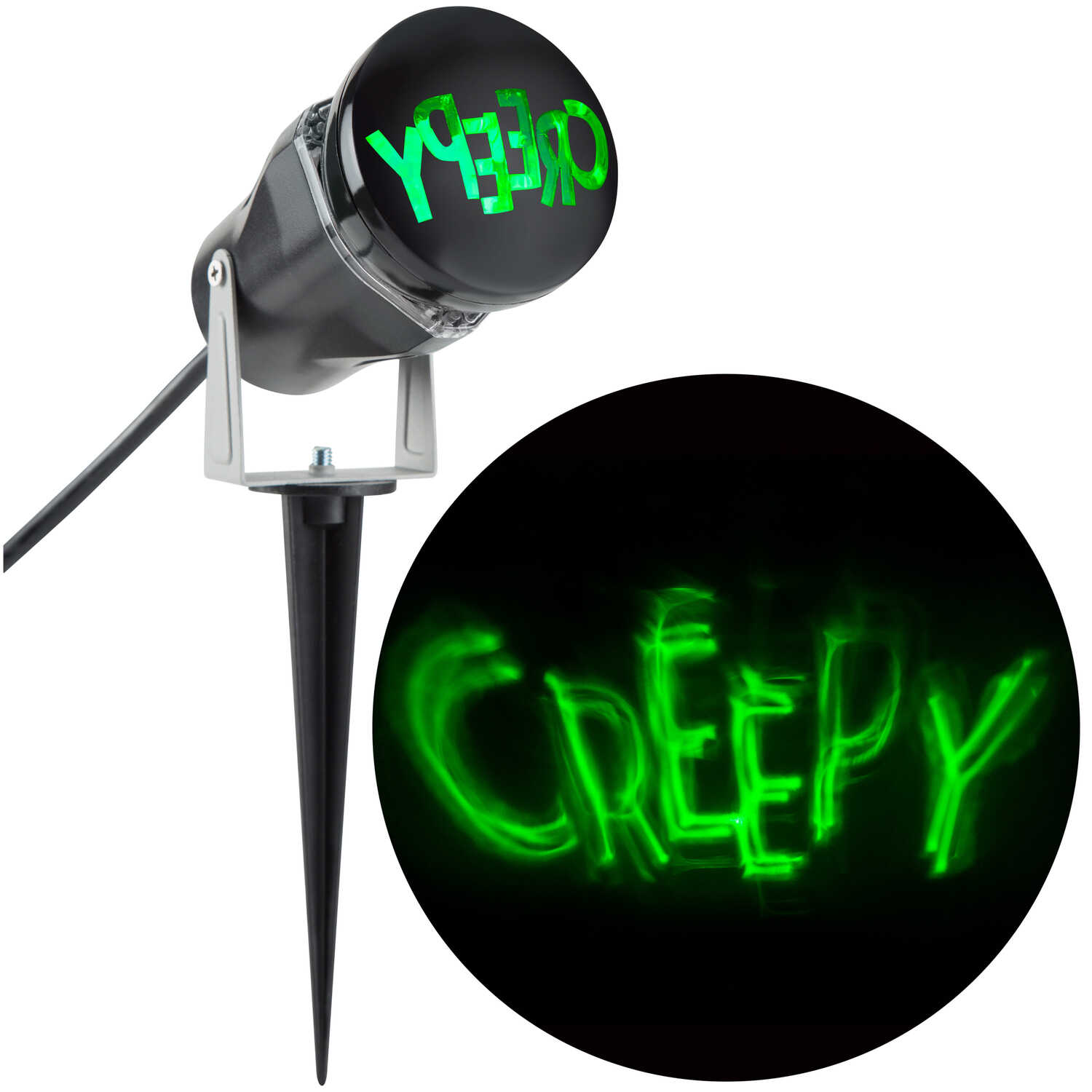 Gemmy  Creepy  Lighted Green  LED Projector  8.27 in. H x 8.66 in. W x 3.94 in. L 1 pk