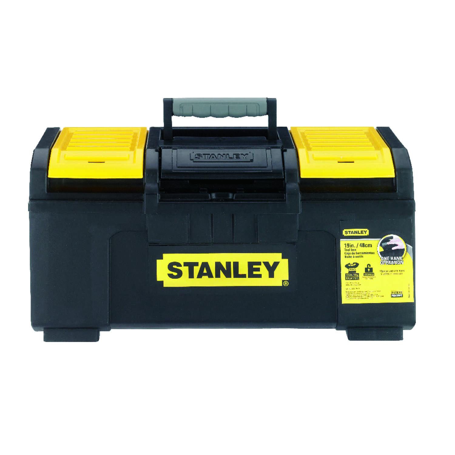 Stanley 19 in. Plastic Tool Box 10.5 in. W x 9 in. H Black/Yellow
