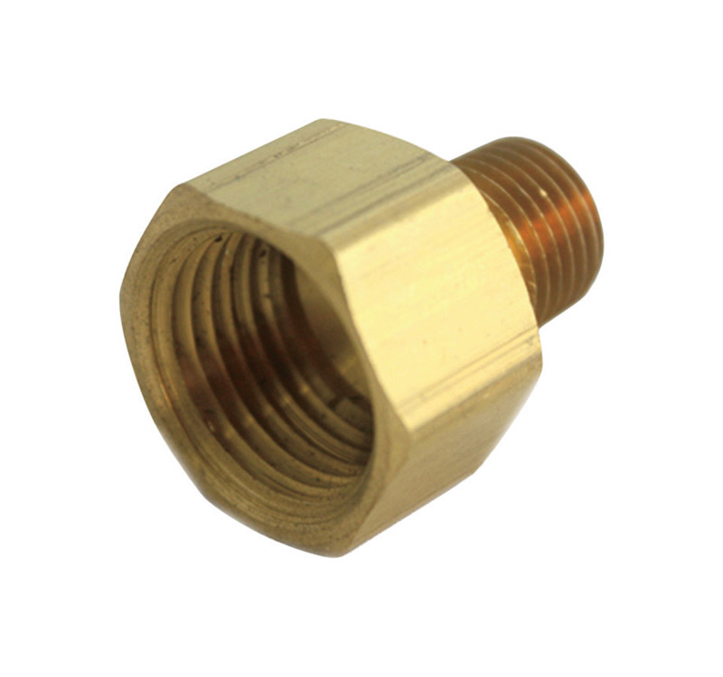 JMF  1/4 in. Dia. x 1/4 in. Dia. FPT To FPT  Yellow Brass  Reducing Coupling