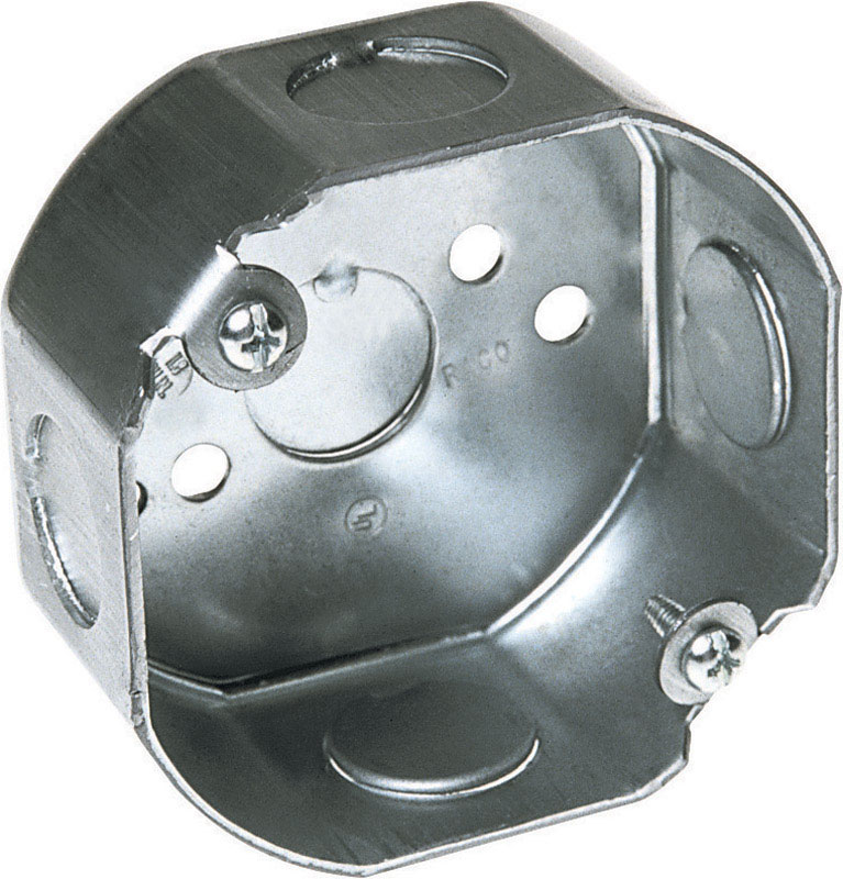 Raco  3-1//2 in Octagon  Steel  1 gang Junction Box  Gray