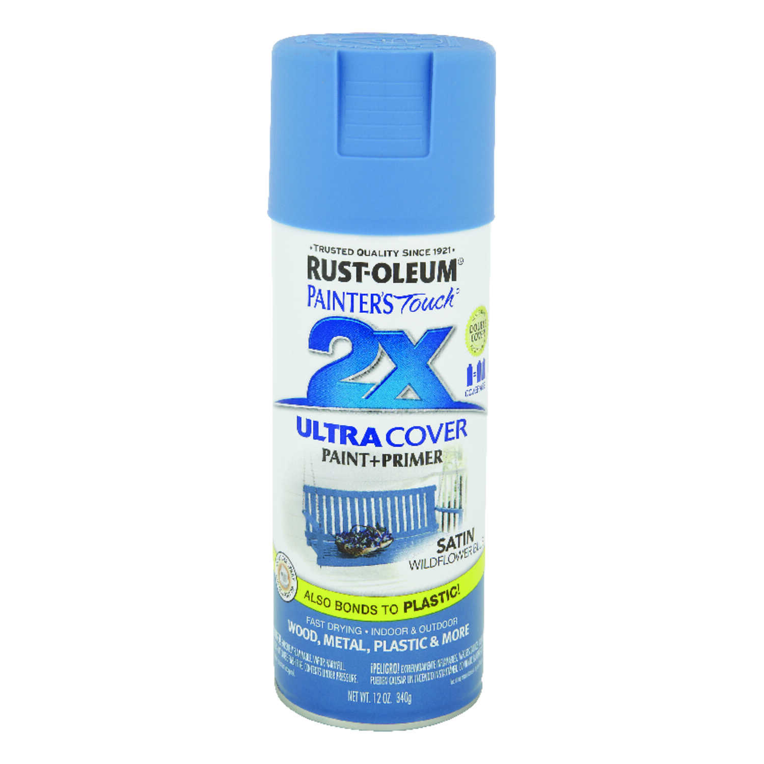 Rust-Oleum  Painters Touch Ultra Cover  Satin  Wildflower Blue  Spray Paint  12 oz.