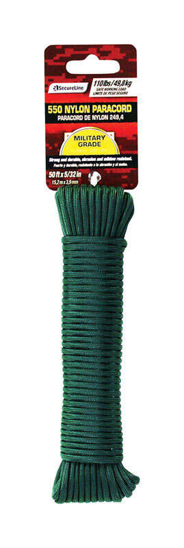 SecureLine  5/32 in. Dia. x 50 ft. L Green  Braided  Nylon  Paracord