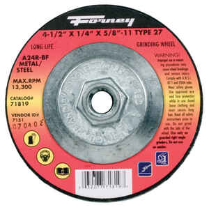 Forney  4-1/2 in. Dia. x 1/4 in. thick  x 5/8 in.   Aluminum Oxide  Metal Grinding Wheel  13300 rpm