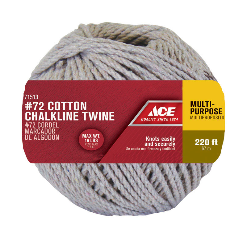 Ace  1/8 in. Dia. x 220 ft. L Natural  Cotton  Cord  Twisted