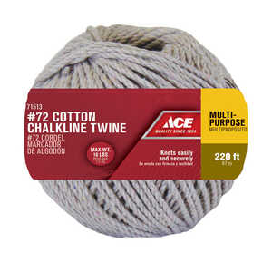Ace  220 ft. L x 1/8 in. Dia. Natural  Cotton  Cord  Twisted