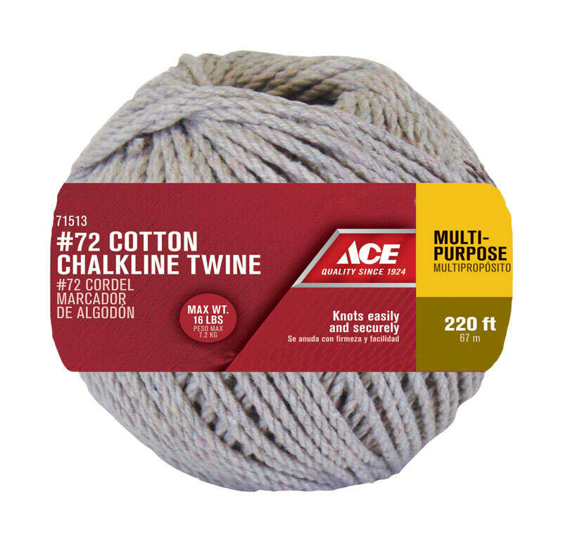 Ace  1/8 in. Dia. x 220 ft. L Natural  Twisted  Cotton  Cord