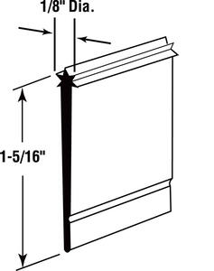 Prime-Line  5.3 in. H x 1-5/16 in. W Clear  Frameless  Shower Door Bottom Seal