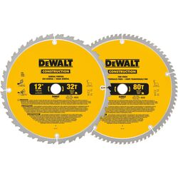 DeWalt 12 in. Dia. x 1 in. Carbide Circular Saw Blade 32, 80 teeth 2 pk