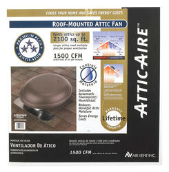 Air Vent  26.2 in. H x 25.5 in. W x 9 in. L x 14 in. Dia. Brown  Brown  Steel  Power Roof Ventilator