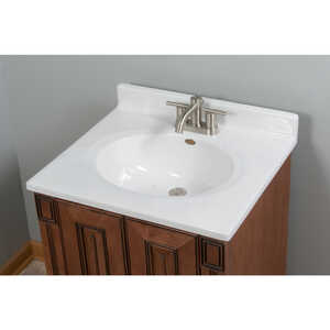 Imperial Marble Vanity Top Cultured Marble Single Bowl 25 in. x 22 in. White