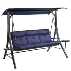 Living Accents  3-Seat  3 person Black  Steel  Swing  Blue