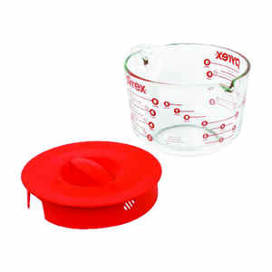 Pyrex  8 cups Glass/Plastic  Clear/Red  Measuring Cup