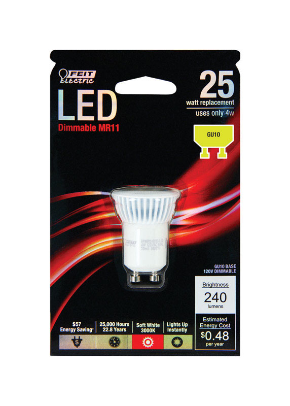 FEIT Electric  4 watts MR11  LED Bulb  240 lumens Soft White  Reflector  25 Watt Equivalence