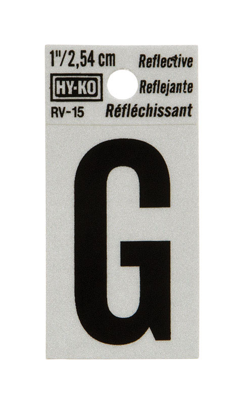 Hy-Ko  1 in. Reflective Vinyl  Black  Self-Adhesive  Letter  G