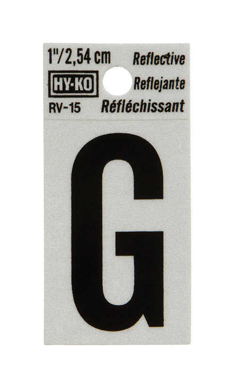 Hy-Ko  1 in. Reflective Vinyl  Black  G  Letter  Self-Adhesive