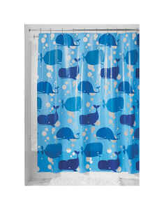 InterDesign  72 in. H x 72 in. W Blue  Moby  Shower Curtain  Polyethylene