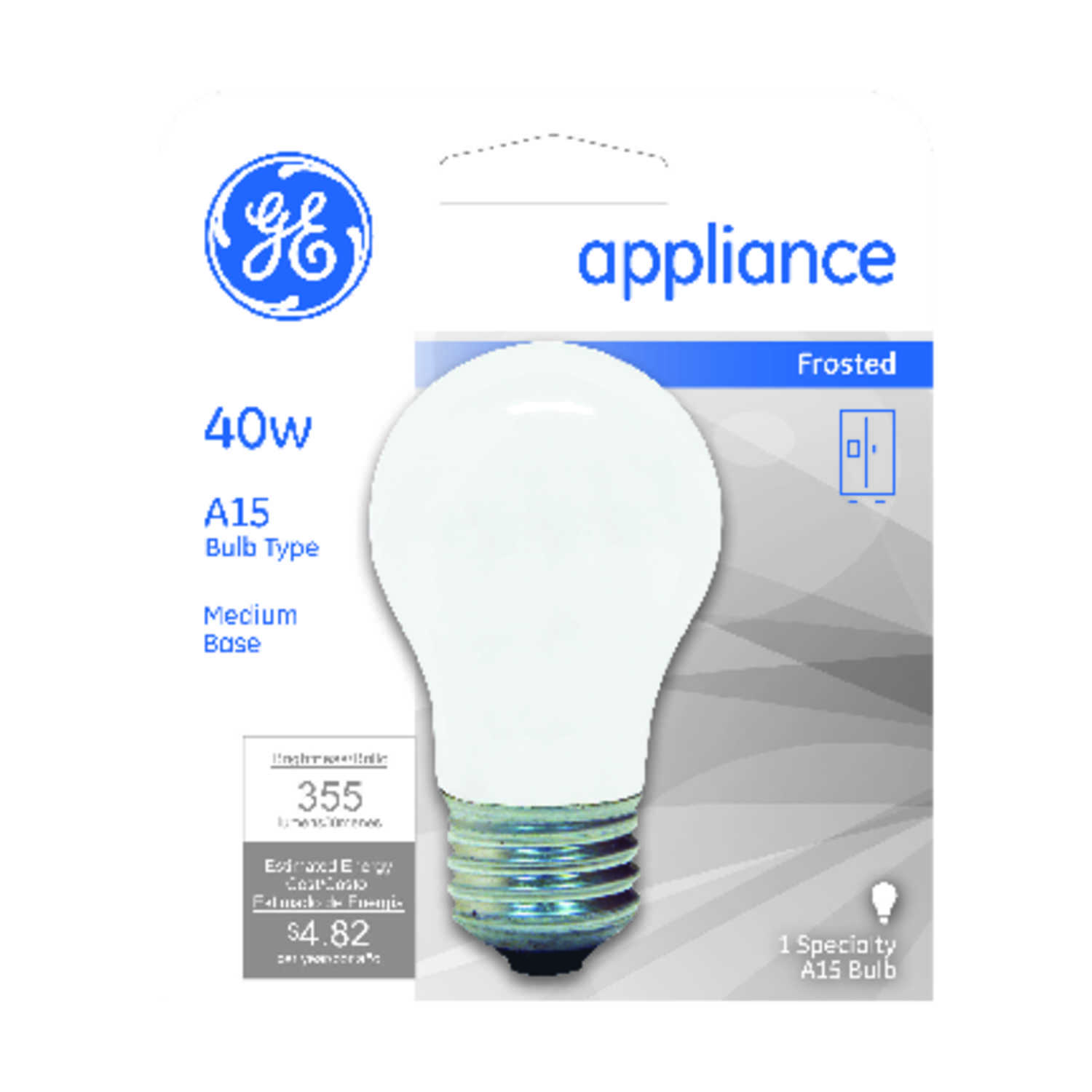 GE Lighting  40 watts G16.5  Incandescent Bulb  355 lumens Cool White  1  A-Line