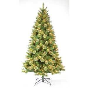 J & J Seasonal  Multicolored  7-1/2 ft. Concord  Artificial Tree  600 lights 1151, 220 BRISTLE tips