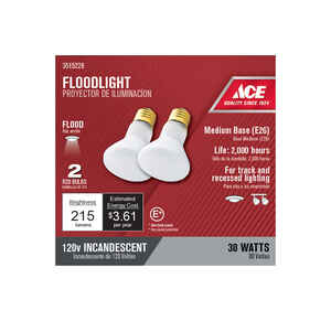 Ace  30 watts R20  Incandescent Light Bulb  215 lumens Frosted  2 pk Floodlight