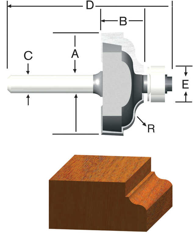 Vermont American  1-3/8 in. Dia. x 3/16 in.  x 2-1/4 in. L Carbide Tipped  Ogee & Fillet  Router Bit