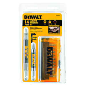 DeWalt  Multi Size in.  x 2 in. L Drive Guide  Heat-Treated Steel  1/4 in. 14 pc.