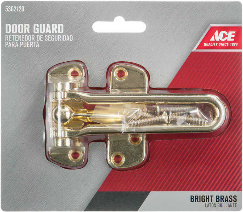 Ace Swingbar Door Guard 4-1/8 in. Bright Brass For Exterior Doors to Allow Security While Allowing D